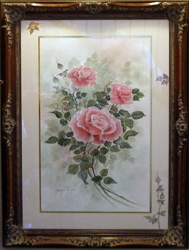 Pink Roses with Watercolor Paint
