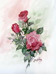 red roses in watercolor on paper